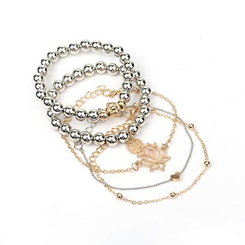 AKKi jewelry Damen Armband Sets Set Angebot Tennis-Armband, in rhodiniert Armkette mit Silber Kristall bohemischer Stil schmuck verstelbar Gold Silber