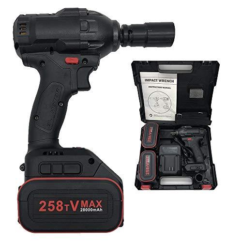 LLGHT Sin Escobillas Paquete de Baterías Llave de Impacto Conjunto, con Caja de Herramientas, Cargador, 28000mAh, Alto Torque 520N.M, 2000 RPM, 21V, Atornillador (Size : 1 Battery)