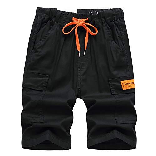 UNSVOR Kinder Jungen Dünn Cargo Shorts Elastische Taille Kordelzug Kurze Hosen Baumwolle Knielänge Hose Sommerkleidung Sommer Cargoshorts Schwarz 8-9 Jahre