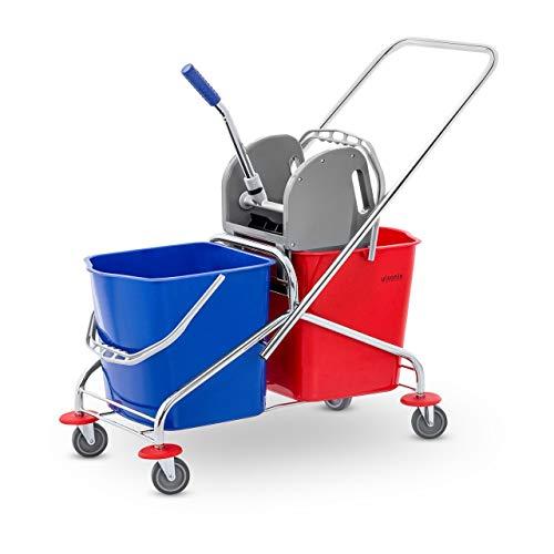 Ulsonix Secchio Lavapavimenti Professionale Con Strizzatore Secchio per Pavimento UNICLEAN 3 (2 Secchi, 48 L, Acciaio Cromato, Blu, Rosso)