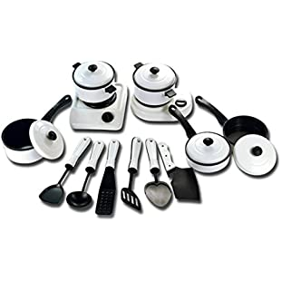 9/11/12/13PC Childrens' Pretend Toys, GreatestAPK 1 Set Educational Kitchen House Pots Pans Cookware Miniature White Toy Gift For Kid Pretend Play (13pcs):Maskedking