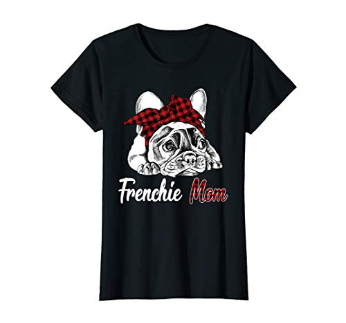 Womens Frenchie Mom French Bulldog With Red Plaid Headband T-Shirt