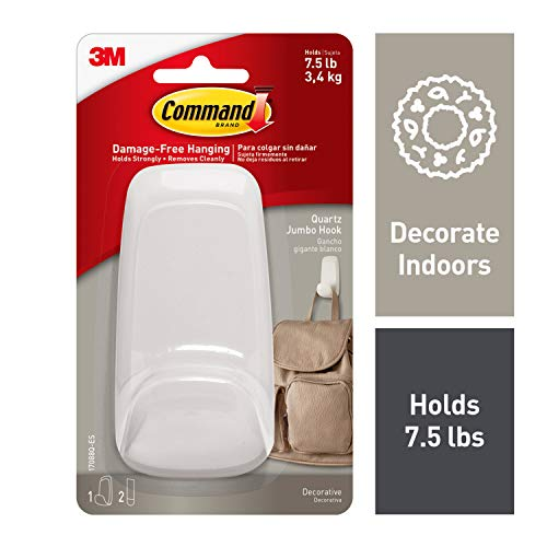 Command Jumbo Hook, Quartz , 1-Hook (17088Q-ES), Great for dorm decor