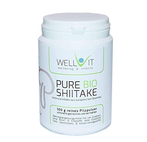 Pure Bio Shiitake 100 g Lentinula edodes polvo de hongos medicinales de agricultura orgánica de la UE, vegano, sin aditivos artificiales