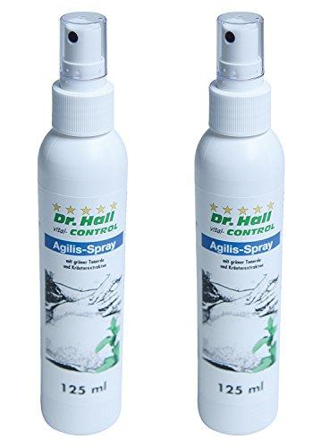 SPARSET: 2x Dr. Hall Agilis-Spray - mit Kräuterextrakten wie Thymian, Ackerminze, Rosmarin, etc. - spezielle Hautpflege für Knie, Füße, Rücken, Nacken oder Schulter
