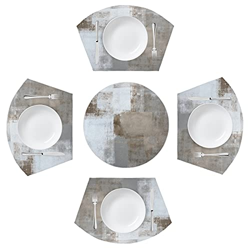 Placemats for Round Tables Set of 5 Modern Abstract Art