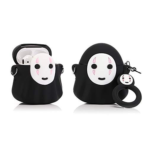 YIGEYI Silikon Hülle Kompatibel mit Airpods 1 & 2 Funny Cute 3D Cartoon Case Cover[3D-Animationsserie GQJ] (Cute Faceless Man)