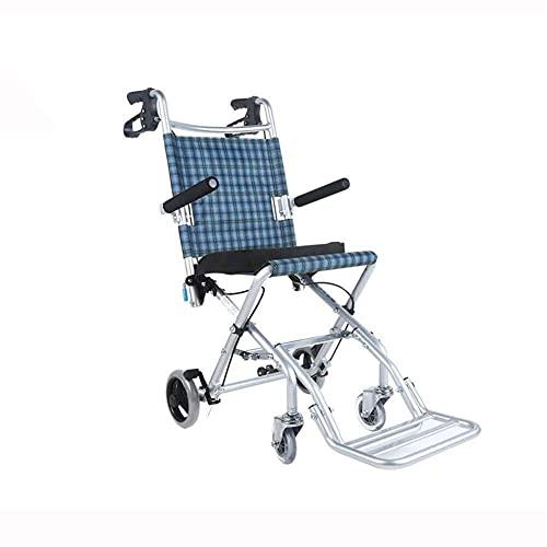 AWJ sillas de Ruedas Silla de Ruedas Apoyabrazos Plegable Doble Freno Ligero Placa de Aluminio Puede ser un neumático sólido Transporte Pasamanos portátil Sillas de Ruedas Plegable Ligero