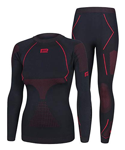 Prosske Seamless Funktionsunterwäsche Damen Thermo Extreme 2.0 Set Thermounterwäsche Skiunterwäsche Atmungsaktiv (schwarz-rot, XL/XXL)