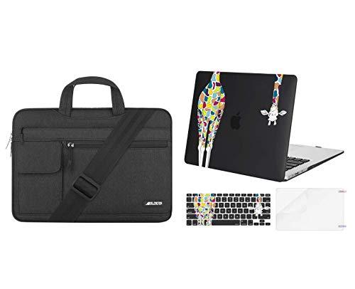 MOSISO Plastic Giraffe Hard Case & Laptop Shoulder Bag Compatible with MacBook Air 13 (A1369 & A1466, Older Version 2010-2017 Release), Black