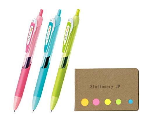 Zebra Sarasa Dry 0.5 Retractable Gel Ink Pen for left-handed, Rubber Grip, 0.5 mm, 3 Body Color Black Ink, Sticky Notes Value Set
