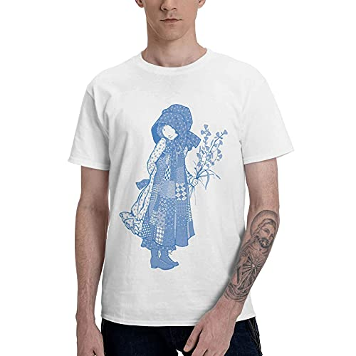 COOTHING Holly Holly Hobbie Blue Man s Classic Fit Casual Printed Basic Crew Neck White T Shirt Clothing