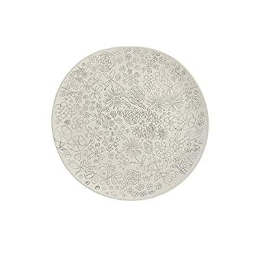 Dorotea Hand Painted Dinner Plate, 10.75-Inch, Set of 4, White/Gray