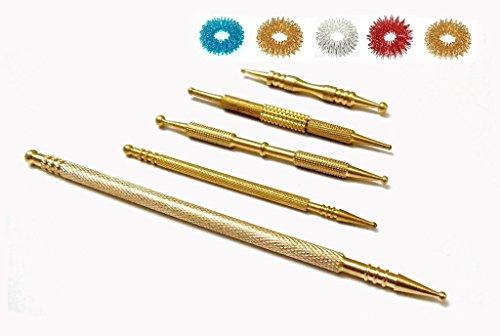 Find Bargain ACS/ACM Sujok Probe Acupressure Brass Metal Diagnostic Roller Jimmys Set 5 Types + 5pcs...
