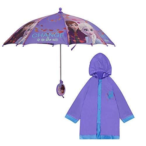 Disney Frozen KidsUmbrellaandSlicker, Elsa and Anna Rainwear Set for Girls 2-7, Blue/Purple, LARGE, AGE 6-7