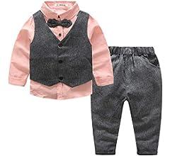 Kimocat - Traje Conjunto de Bebés Niños 3 Piezas Elegante para Bautizo Ceremonia Traje Formal para Recién Nacido Gentihombre con Mangas Largas de ...