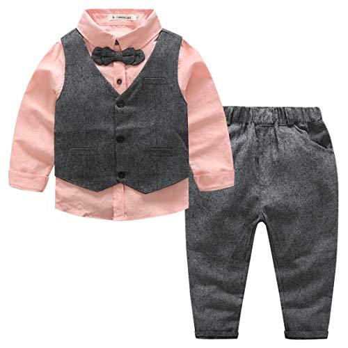 Kimocat - Traje Formal de Algodón para Bebé Niño Elegante con Cintura Elástica Conjunto de Boda Fiesta Ceremonia Bautizo para Recién Nacido - Rosa - 2-3 Años