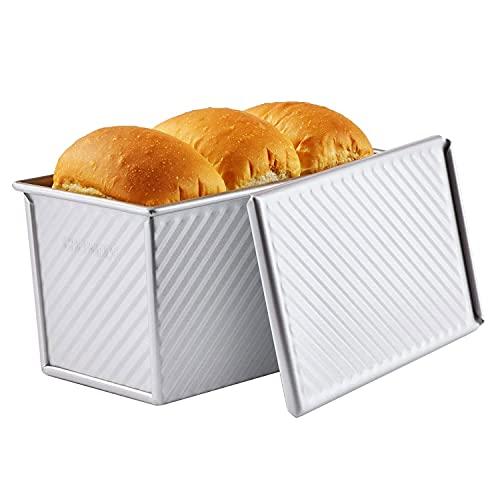 CHEFMADE Pullman Loaf Pan mit Lip, 0,99 Lb Teig Kapazität Nicht-stick Rechteck Well Toast Box für Ofen Backen 4.2