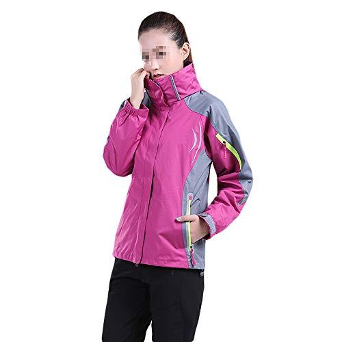 LOYFUN - Tuta da sci da donna, giacca da sci rossa, impermeabile e antivento, fodera in pile caldo, da donna (colore: rosa rosso, taglia: L)