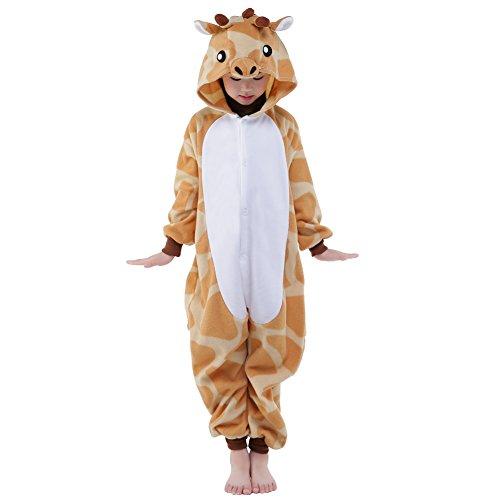 NEWCOSPLAY Unisex Kids Animal One-Piece Pajamas Giraffe Cosplay Onesies Costume( 5 Years, Giraffe)