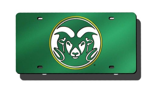 Rico Industries NCAA Colorado State Rams Laser Inlaid Metal License Plate Tag