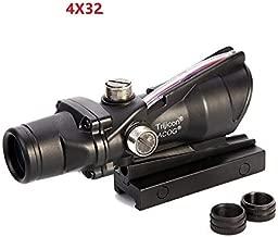 hugelybuy ACOG Style 4X32 red dot Fiber Illuminated Auto Light Real Fiber Optics Tactical Optical Sights Scope