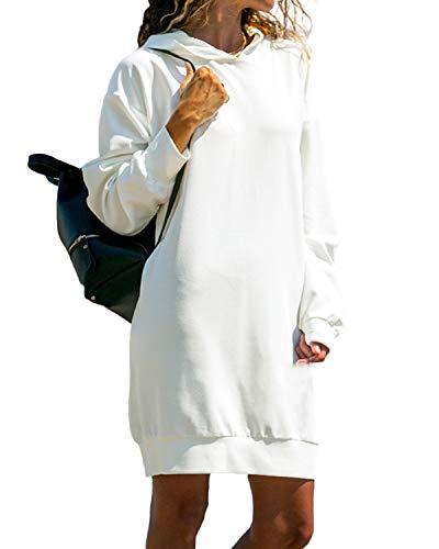 Kidsform Hoodie Damen Sweatshirt Kapuzenpullover Pulli Kleid Pullover Herbst Sweatjacke mit Tasche 1-weiß XL