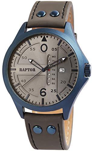Raptor Herren-Uhr Echt Leder Armband Datum Wochentag Analog Quarz RA20264 (grau)