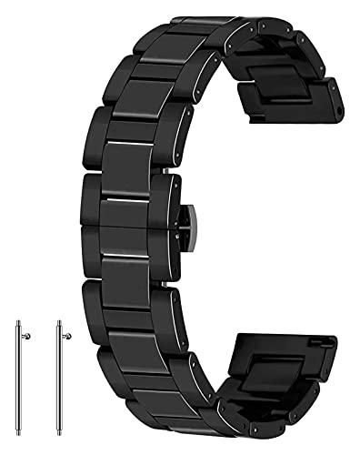 Wensong Banda de Reloj de cerámica Lanzamiento rápido 20 mm 22 mm de Reloj Correa de Correa de despliegue Mercado Pulsera for Mujeres Hombres Blanco Blanco (Color : Black, Size : 20mm)