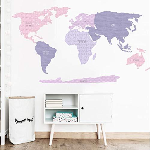 StarStick - Mapamundi combinación lavanda - Vinilos decorativos de pared - T3...
