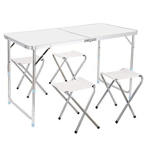 Table de camping pliable, valise de camping en plein air, table de pique-nique à 4 places, idéale pour la plage, le camping, les pique-niques, le barbecue, etc., résistant aux intempéries, antirouille