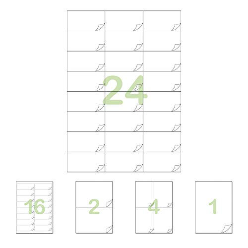 Gluetack –Etiquetas Adhesivas 70x37mm (A4)–25 Folios Adhesivos-24 Etiqueta/Hoja–600 Etiquetas - Papel de Pegatina para Imprimir con Adhesivo Superpermanente