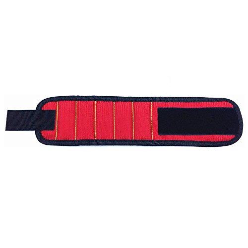 Gesh Pulsera magnética que sostiene pequeñas herramientas de metal, tornillos, clavos, tornillos y pernos firmemente mientras trabajas, color rojo