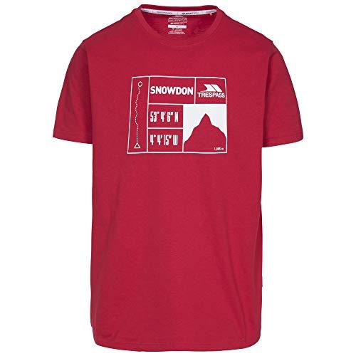 Trespass Snowdon T-Shirt à Manches Courtes pour Homme XXL Rouge