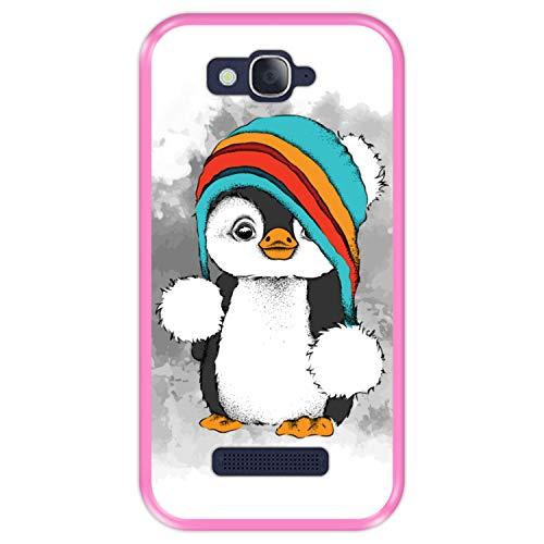 Hapdey Funda Rosa para [ Alcatel One Touch Pop C7 ] diseño [ Pingüino bebé, Invierno ] Carcasa Silicona Flexible TPU