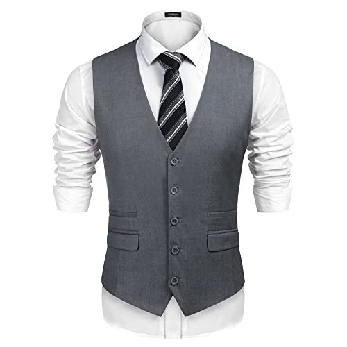 COOFANDY Men's Waistcoat Casual Classic Slim Fit Formal Solid Waistcoat Vest with Pocket for Wedding/Business/Party
