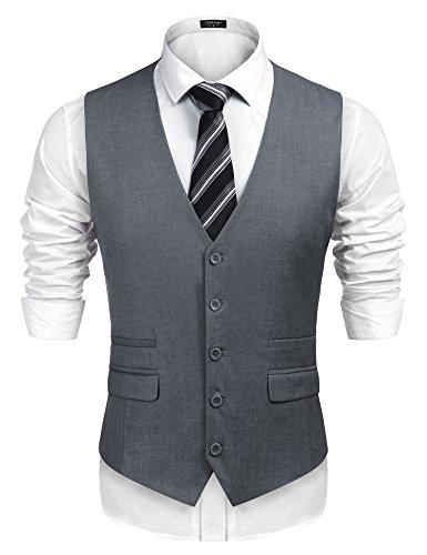 COOFANDY Herren anzug-weste, nehmen geeignete dünne hochzeit weste klein grau