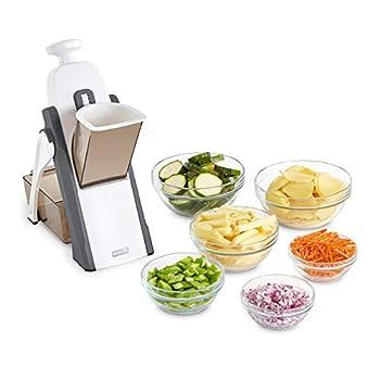 Dash Safe Slice Mandoline Slicer Julienne + Dicer for Vegetables Meal Prep & More with 30+ Presets & Thickness Adjuster - Grey
