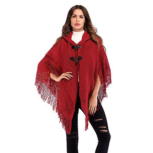 AHUIOPL Elegante Dame Winter Mit Kapuze Poncho Vintage Button Cardigan Weibliche Warme Schal Mantel Bat Capes Quaste Schals Stola
