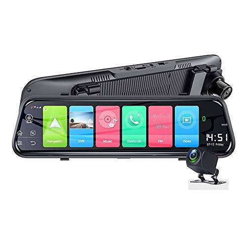 Grabador de conducción inteligente 4G de pantalla completa de 10 pulgadas, espejo retrovisor de medios de transmisión de doble cámara 1080P, grabador de visión nocturna con poca luz de navegación inte