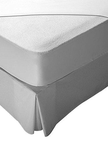 Pikolin Home Matrasbeschermer, badstof, 100% katoen, waterdicht en ademend Europees Lit 105-105 x 190/200 cm Wit.