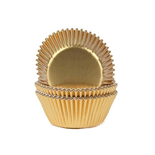 Miss Bakery's House® Papierbackförmchen - Folie - Gold - 50 Stück - Muffin, Cupcake