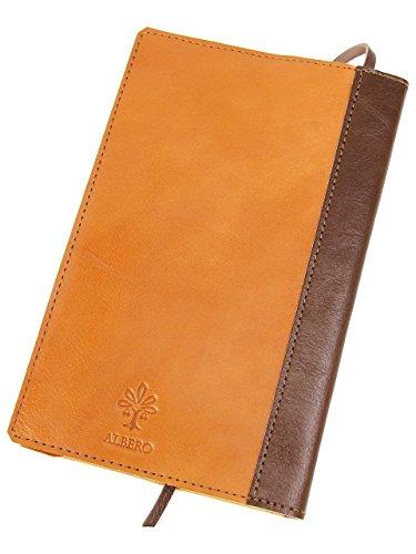 [アルベロ] ブックカバー 新書サイズ 革 4383 LYON リヨンシリーズ オレンジ×チョコ AL-4383-40