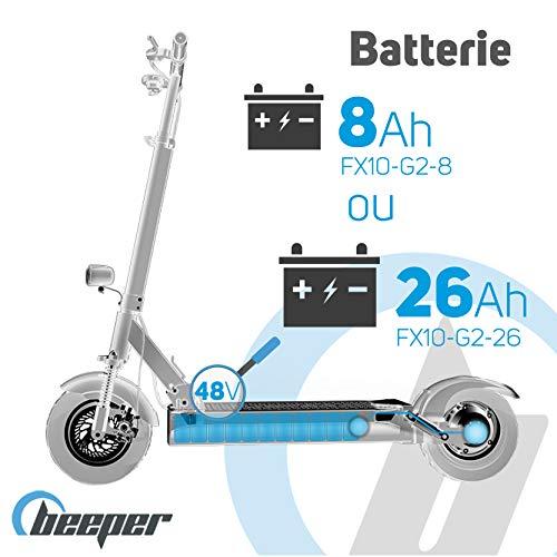 BEEPER Trottinette Électrique avec Alarme 10 Pouces 500 W 48 V 8 Ah Max