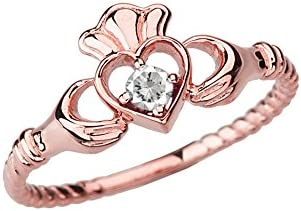 Dainty 10k Rose Gold Open Heart Solitaire CZ Rope Claddagh Promise Ring Size 7 product image