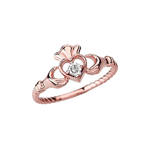 Dainty 10k Rose Gold Open Heart Solitaire CZ Rope Claddagh Promise Ring (Size 7)