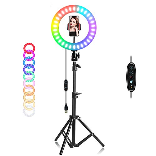 """EEIEER 12"""" RGB Ring Light with Stand, Mini LED Dimmable Circle Light, Makeup Flash Light with Cell Phone Holder Desktop Ring Lights kit for Live Stream/Makeup/Video/Photography (10 inch)"""