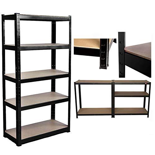 Estantería de 5 niveles para garaje de metal, muy resistente, 175 kg de capacidad por estante, color negro, para garaje, taller, almacén, cobertizo de almacenamiento, 150 x 70 x 30 cm