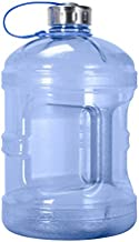 Geo Sports Bottles 1 Gallon BPA Free Reusable Leakproof Sports Water Bottle Jug with Handle Includes 48mm Stainless Steel Lid (Dark Blue)