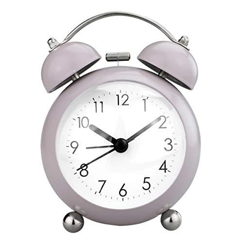 PILIFE - Reloj Despertador analógico Mini Twin Bell de 3.5'para niños, con batería. Reloj Despertador Ruidoso, sin tictac/Lindo/Bonito - Retro Gris